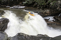 Vermont Paddlers Club kayak racing at Bartlett Falls on the New Haven River in Lincoln, Vermont.