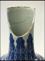 BNPS.co.uk (01202 558833)<br /> Pic: Halls/BNPS<br /> <br /> A badly damaged Chinese vase has sold for a whopping &pound;186,000 despite it having a gaping hole in its neck.<br /> <br /> The 21ins tall blue and white vase had spent 40 years locked away in a warehouse until it was found by the son of its late owner during a clear out.<br /> <br /> He showed it to experts who identified it as an exceptionally rare imperial vase dating from the Emperor Yongzheng period of the Ching dynasty of the 18th century,<br /> <br /> But auctioneers gave it a modest value of between &pound;6,000 to &pound;10,000 because of the amount of damage it has sustained.