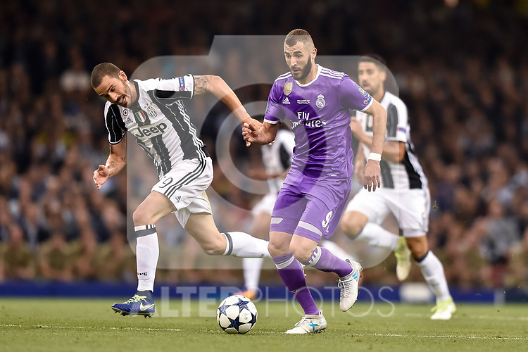 Karim Benzema of Real Madrid during the UEFA Champions League Final match between Real Madrid and Juventus at the National Stadium of Wales, Cardiff, Wales on 3 June 2017. Photo by Giuseppe Maffia.<br /> <br /> Giuseppe Maffia/UK Sports Pics Ltd/Alterphotos