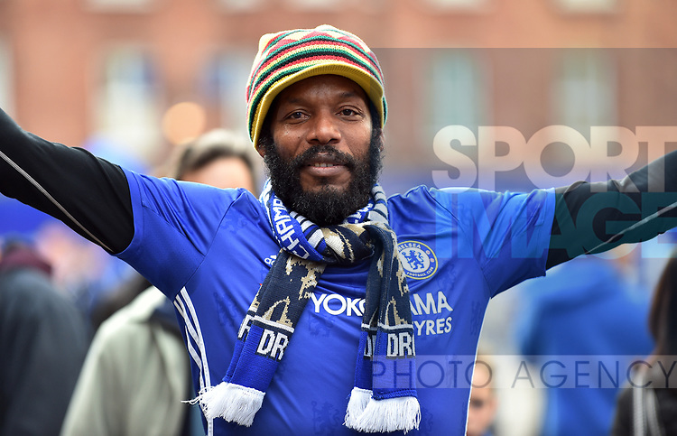 A Chelsea fan before the start of the premier league match at the Stamford Bridge stadium, London. Picture date 30th September 2017. Picture credit should read: Robin Parker/Sportimage