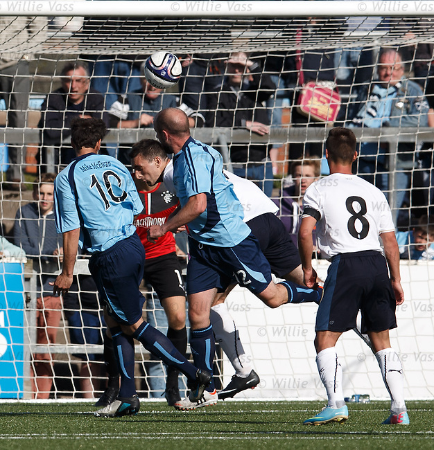 Gavin Swankie heads in his second goal of the match for Forfar