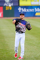 Cedar Rapids Kernels infielder Andrew Bechtold (7) warms up prior to a Midwest League game against the Kane County Cougars on April 21, 2018 at Perfect Game Field at Veterans Memorial Stadium in Cedar Rapids, Iowa. Kane County defeated Cedar Rapids 9-2. (Brad Krause/Four Seam Images)