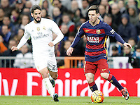 Real Madrid's Isco (l) and FC Barcelona's Leo Messi during La Liga match. November 21,2015. (ALTERPHOTOS/Acero) /NortePhoto