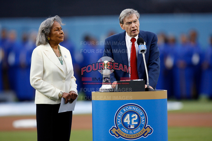 "Rachel Robinson and Baseball Commissioner Bud Selig at the announcement of ""Jackie Robinson Day"", which will be celebrated at every Major League Baseball game to be played on April 15th of every MLB season, at Dodger Stadium on April 15, 2007 in Los Angeles, California. (Larry Goren/Four Seam Images)"