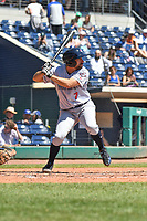 Mickey Janis (7) of the Binghamton Rumble Ponies bats during a game against the Hartford Yard Goats at Dunkin Donuts Park on May 9, 2018 in Hartford, Connecticut.<br /> (Gregory Vasil/Four Seam Images)