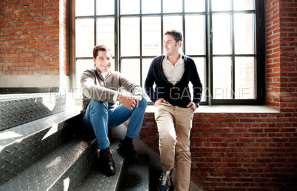 Quentin Nickmans and Thibaud Elziere, founders and partners of the eFounders company (Belgium, 02/10/2014)