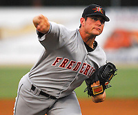 Frederick Keys RHP Chorye Spoone took a no-hitter into the eighth inning against the Potomac Nationals June 25, 2007, at Pfitzner Stadium, Woodbridge, Va.  Photo by: Tom Priddy/Four Seam Images