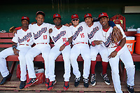 Auburn Doubledays (L-R) Armond Upshaw, Jeyner Baez, Joshual Ramirez, Kameron Esthay, Andres Martinez, and Omar Meregildo before a game against the Connecticut Tigers on August 8, 2017 at Falcon Park in Auburn, New York.  Auburn defeated Connecticut 7-4.  (Mike Janes/Four Seam Images)