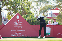 Haotong Li (CHN) on the 9th during Round 1 of the Abu Dhabi HSBC Championship 2020 at the Abu Dhabi Golf Club, Abu Dhabi, United Arab Emirates. 16/01/2020<br /> Picture: Golffile | Thos Caffrey<br /> <br /> <br /> All photo usage must carry mandatory copyright credit (© Golffile | Thos Caffrey