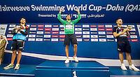 (L to R) GRABICH Federico ARG; LE CLOS Chad RSA; STRAVIUS Jeremy FRA<br /> 100 Freestyle men<br /> FINA Airweave Swimming World Cup 2015<br /> Doha, Qatar 2015  Nov.2 nd - 3 rd<br /> Day1 - Nov. 2 nd Finals<br /> Photo G. Scala/Deepbluemedia