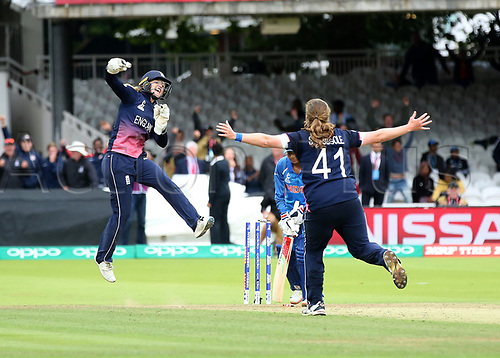 July 23rd 2017, Lords Cricket Ground, London, England; The ICC Women's World Cup Final; England Women versus India Women; Anya Shrubsole of England claims the last Indian wicket and wins the Women's World Cup for England, with Sarah Taylor celebrating