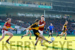 Brian Looney Dr Crokes in action against Gordon Kelly and Colin Hehir St Joseph's Miltown Malbay during the AIB Munster GAA Football Senior Club Championship Final match between Dr. Crokes and St. Josephs Miltown Malbay at the Gaelic Grounds in Limerick on Sunday.