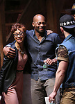 """Syndee Winters and Brandon Victor Dixon during the Q & A for The Rockefeller Foundation and The Gilder Lehrman Institute of American History sponsored High School student #EduHam matinee performance of """"Hamilton"""" at the Richard Rodgers Theatre on 3/15/2017 in New York City."""