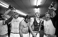 OAKLAND ATHLETICS CELEBRATE with champagne dump after beating the Cincinnati Reds in the 7th game of the 1972 World Series. (from the left: Alan Lewis, Mike Epstein, Dave Duncan, Joe Rudi, and captain Sal Bando) (1972 photo by Ron Riesterer)