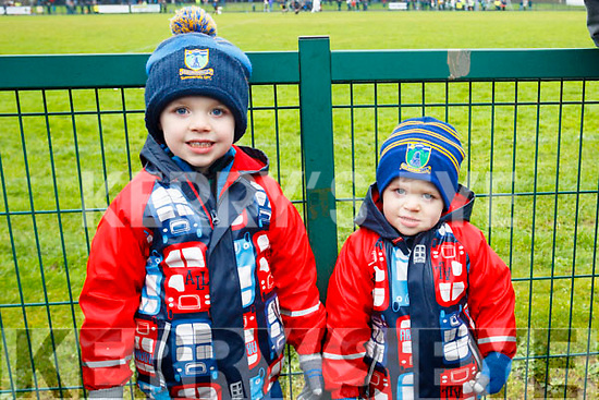 """""""Go on Dad"""", The sons of the Ballyduff Captain Sean Costelloe, Alex and Dylan at the NK football final."""