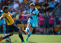 Dayle Southwell of Wycombe Wanderers hits a shot past Nathan Webb of Slough Town during the pre season friendly match between Slough Town and Wycombe Wanderers at Arbour Park Stadium, Slough, England on 8 July 2017. Photo by Andy Rowland.