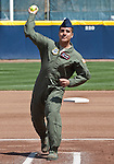 April 15, 2012:  Senior Airman Ronnie Echavarria throws out the ceremonial first pitch on Support the Troops Day before the California Bears and Arizona Wildcats NCAA softball game played at Levine-Fricke Field on Sunday afternoon in Berkeley, California.  California won the game 6-0.