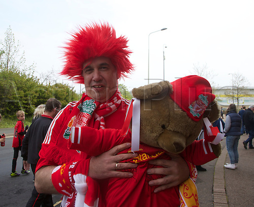 20.04.2014.  Norwich, England.  Liverpool fan and his bear before the Barclays Premier League match between Norwich City and Liverpool from Carrow Road.