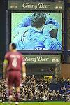 Everton 3 Larissa 1, 25/10/2007. Goodison Park, Europa League Group A. Larissa defender and captain Nikon Dabizas is dwarfed by the scoreboard showing home players celebrating as Everton take the lead at Goodison Park, Liverpool in their UEFA Cup Group A match. Everton beat the Greek team by three goals to one on the opening night of group matches in the UEFA Cup. It was the first meeting between the two clubs. Photo by Colin McPherson.