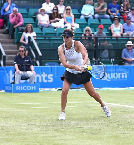 June 16th 2017, Nottingham, England;WTA Aegon Nottingham Open Tennis Tournament day 5;  Backhand from Tsvetana Pironkova of Bulgaria against Lucie Safarova of Czech Republic