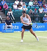 June 16th 2017, Nottingham, England;WTA Aegon Nottingham Open Tennis Tournament day 5;  Backhand from Tsvetana Pironkova of Bulgaria against Lucie Safarova of Czech Republic