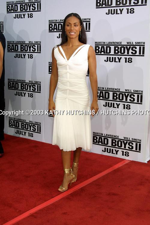 """©2003 KATHY HUTCHINS / HUTCHINS PHOTO.PREMIERE OF """"BAD BOYS II"""".JULY 9, 2003.WESTWOOD, CA..JADA PINKETT SMITH"""