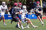 Manhattan Beach, CA 02-11-17 - Liam Villano (Santa Clara #4) and Givino Rossini (Loyola Marymount #7) in action during the MCLA non-conference game between LMU (SLC) and Santa Clara (WCLL).  Santa Clara defeated LMU 18-3.