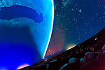 "Oct 4, 2012 - GARDEN CITY, NEW YORK U.S. - At the new JetBlue Sky Theater Planetarium at Cradle of Aviation Museum, Nassau County students watched ""We Are Astronomers"" a digital planetarium show, which included closeup views of the planets from outer space. The planetarium, a state-of-the-art digital projection system, officially opens this weekend."