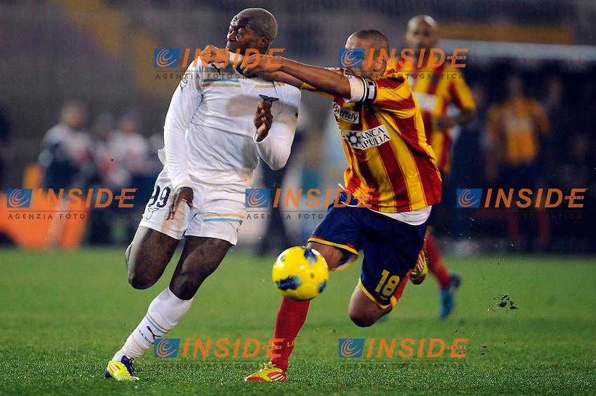 """Djibril Cisse' Lazio, Guillermo Giacomazzi Lecce.Lecce 10/12/2011 Stadio """"Via del MAre"""".Football Calcio Serie A 2011/2012.Lecce Vs Lazio.Foto Insidefoto ."""