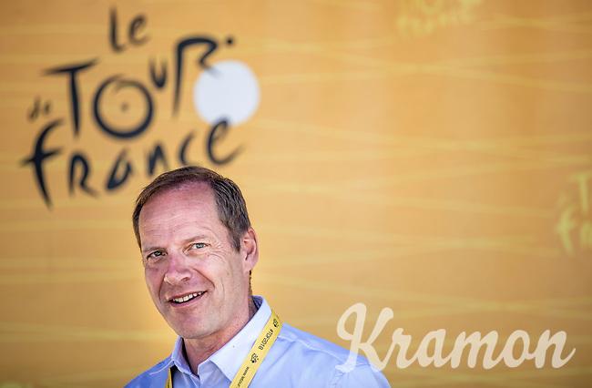 ASO President Christian Prudhomme.<br /> <br /> Stage 6: Brest > Mûr de Bretagne / Guerlédan (181km)<br /> <br /> 105th Tour de France 2018<br /> ©kramon