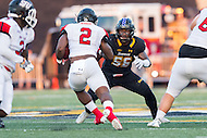 Baltimore, MD - SEPT 10, 2016: Towson Tigers linebacker Diondre Wallace (56) meets St. Francis (Pa) Red Flash running back Marcus Bagley (2) in the hole during their match up at Johnny Unitas Stadium in Baltimore, MD. The Tigers defeated St. Francis 35-28. (Photo by Phil Peters/Media Images International)