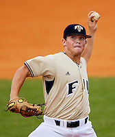 Florida International University Golden Panthers versus the Wagner College Seahawks at University Park Stadium, Miami, Florida on Saturday, March 3, 2007.  The Golden Panthers soundly defeated the Seahawks, 14-2...Freshman pitcher Evan Ellison (11)