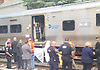 Officials and police respond to an incident near the LIRR Kew Gardens station in which a person on the tracks was struck by a train at approximately 11:45AM on Wednesday, May 23, 2018.