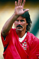 Dennis Eckersley of the St.Louis Cardinals during a game at Dodger Stadium in Los Angeles, California during the 1997 season.(Larry Goren/Four Seam Images)