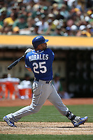 OAKLAND, CA - JUNE 27:  Kendrys Morales #25 of the Kansas City Royals bats against the Oakland Athletics during the game at O.co Coliseum on Saturday, June 27, 2015 in Oakland, California. Photo by Brad Mangin