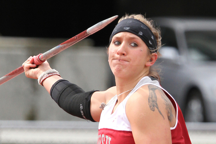 Marissa Tschida, Washington State junior, shows determination as she throws the javelin during the Cougars dual track and field meet with arch-rival Washington at Mooberry Track at Washington State University in Pullman, Washington, on May 1, 2010.