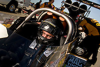 Sept. 5, 2010; Clermont, IN, USA; NHRA top fuel dragster driver Doug Kalitta during qualifying for the U.S. Nationals at O'Reilly Raceway Park at Indianapolis. Mandatory Credit: Mark J. Rebilas-