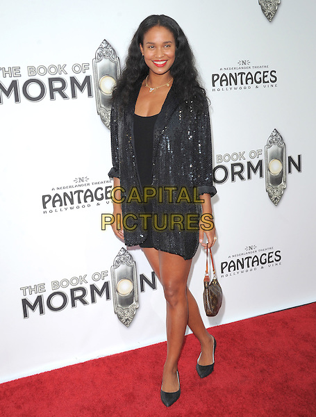 "Joy Bryant.""The Book of Mormon"" Hollywood Opening night Held At The Pantages theatre, Hollywood, California, USA..September 12th, 2012.full length black dress silver sequins sequined blazer bag purse .CAP/DVS.©DVS/Capital Pictures."