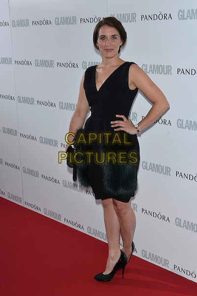 Vicky McClure<br /> Glamour Women of the Year, Berkeley Square, London, England.<br /> 4th June 2013<br /> full length black dress green feathers hand on hip<br /> CAP/PL<br /> &copy;Phil Loftus/Capital Pictures