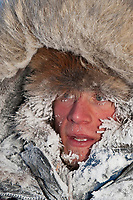 Dallas Seavey portrait at Kaltag on a cold 20 degrees below zero morning during Iditarod 2009