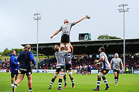 Dave Attwood of Bath Rugby looks to win the ball at a lineout during the pre-match warm-up. Pre-season friendly match, between the Scarlets and Bath Rugby on August 20, 2016 at Eirias Park in Colwyn Bay, Wales. Photo by: Patrick Khachfe / Onside Images