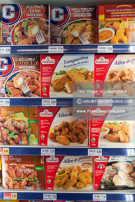 Various frozen chicken products with French labels are seen in a Metro grocery store in Quebec city March 4, 2009.