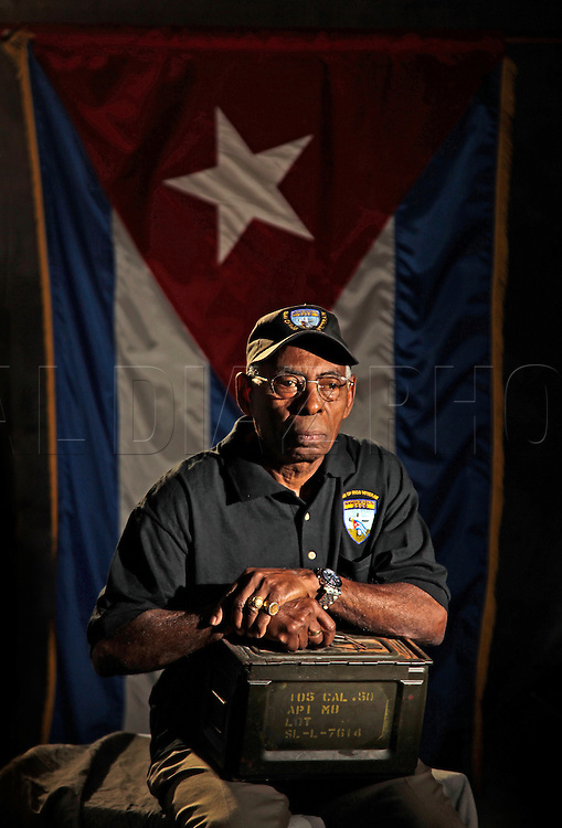 Santiago Jont, 73, carried 50 caliber ammunition during the Bay of Pigs invasion  in Cuba. He is a member of the Bay of Pigs Veterans Association, Brigade 2506.