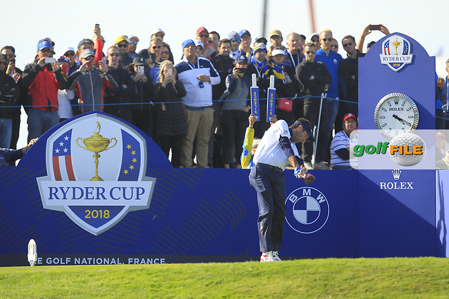 Bubba Watson (Team USA) on the 10th tee during Saturday Foursomes at the Ryder Cup, Le Golf National, Ile-de-France, France. 29/09/2018.<br /> Picture Thos Caffrey / Golffile.ie<br /> <br /> All photo usage must carry mandatory copyright credit (© Golffile   Thos Caffrey)