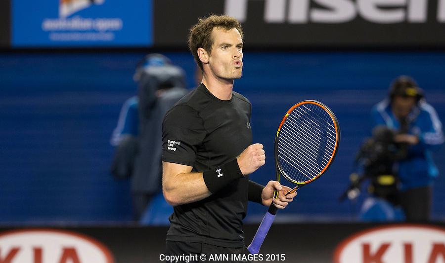 ANDY MURRAY (GBR)<br /> <br />  - Australian Open 2015 - Grand Slam -  Melbourne Park - Melbourne - Victoria - Australia  - 27 January 2015. <br /> &copy; AMN IMAGES