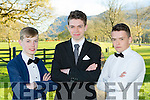 Kieran O'Connor, Fionn O'Brien and Oran O'Donoghue at the Beaufort Youth Club Ball in aid of the Donal Walsh foundation in the Dunloe Castle Hotel on Friday night