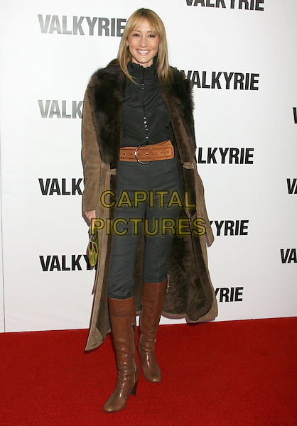 "BREE TURNER.""Valkyrie"" Los Angeles Premiere held at the Directors Guild of America, Los Angeles, California, USA..December 18th, 2008.full length brown black coat fur trim collar boots green clutch bag trousers belt .CAP/ADM/MJ.©Michael Jade/AdMedia/Capital Pictures."