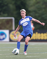 Boston Breakers midfielder Joanna Lohman (11) passes the ball.  In a National Women's Soccer League Elite (NWSL) match, Sky Blue FC (white) defeated the Boston Breakers (blue), 3-2, at Dilboy Stadium on June 16, 2013.