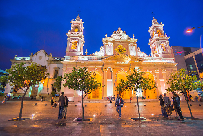 Salta Cathedral at night, 9 de Julio central square, Salta, Salta Province, North Argentina