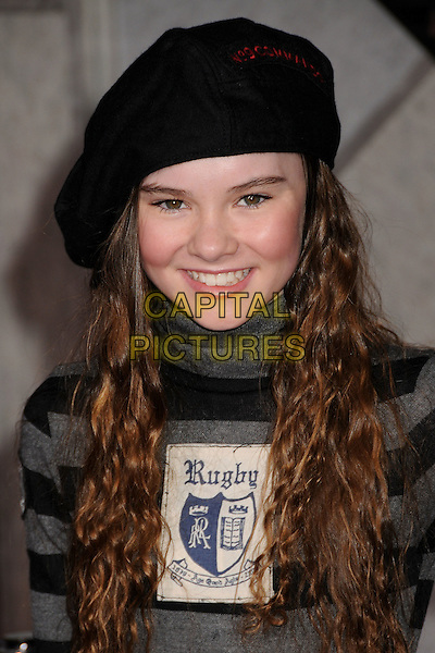 "MADELINE CARROLL.""Race to Witch Mountain"" Los Angeles Premiere at the El Capitan Theatre, Hollywood, California, USA..March 11th, 2009.headshot portrait black grey gray striped stripes hat rugby patch.CAP/ADM/BP.©Byron Purvis/AdMedia/Capital Pictures."